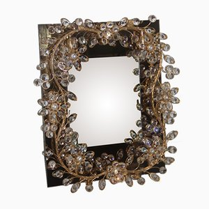 Mirror with Gilded Brass Structure and Embedded Crystals, 1970s