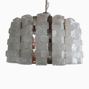 Lampadario in metallo cromato e vetro di Zeroquattro, anni '60