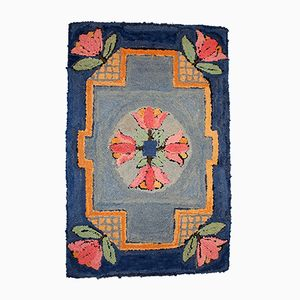 Antique Handmade American Hooked Rug, 1940s