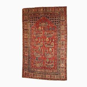 Alfombra de oración anatolia turca antigua tejida a mano, década de 1890