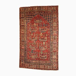 Handmade Antique Turkish Anatolian Prayer Rug, 1890s