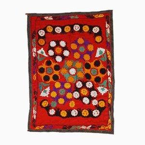 Vintage Uzbek Embroidered Suzani Rug