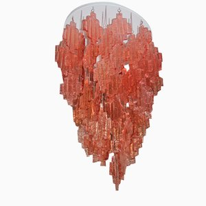 Pink Murano Glass Chandelier from Mazzega, 1970s