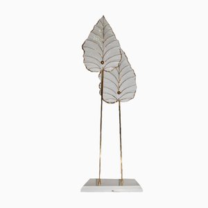 Italian Floor Lamp with Ceramic Leaves, 1970s