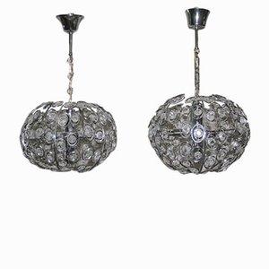 Lámparas colgantes de cristal de Gaetano Sciolari, años 70. Juego de 2