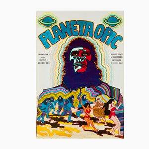 Póster checo vintage de la película Planet of the Apes de Vratislav Hlavatý, 1970