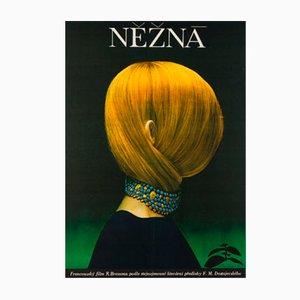 Póster vintage de la película checa Une Femme Douce de Olga Poláčková-Vyleťalová, 1970