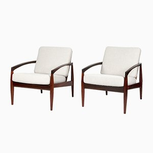 Paper Knife Rosewood Lounge Chairs by Kai Kristiansen, 1950s