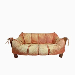 MP-211 Wood & Leather Two-Seater Sofa by Percival Lafer, 1974