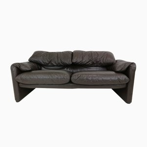 Vintage Leather Two-Seater Maralunga Sofa by Vico Magistretti for Cassina