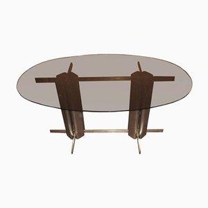 Mesa de comedor vintage oval de vidrio de St Gobain