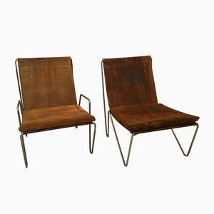 Chaises Bachelor Vintage en Daim par Verner Panton pour Fritz Hansen, 1955, Set de 2