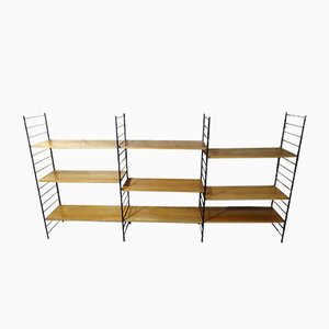 Mid-Century Modern Large Teak & Metal Wall Shelving Unit, 1960s