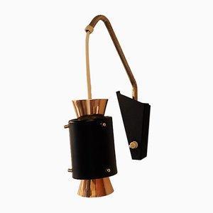 Lámpara de pared en cobre y negra con detalles de latón, años 50