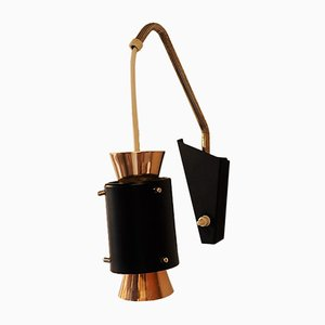 Wall Lamp in Copper and Black with Brass Details, 1950s
