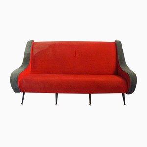 Sofá francés rojo, años 50