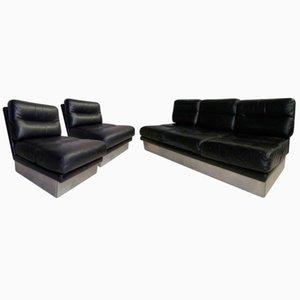 Divano vintage di pelle con coppia di sedie di Jacques Charpentier per Roche Bobois