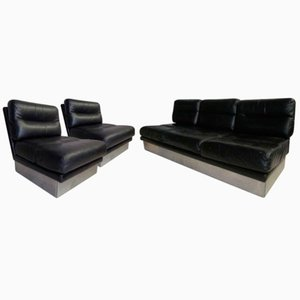 Sofá vintage de cuero con un par de sillones de Jacques Charpentier para Roche Bobois