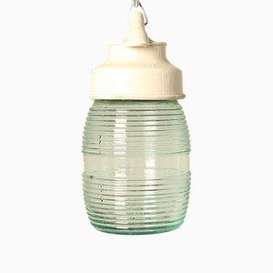 Lámpara colgante vintage de baquelita blanca