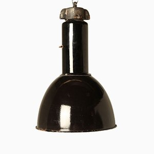 Lámpara colgante Bauhaus vintage esmaltada en negro