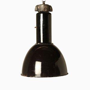 Vintage Bauhaus Hängelampe aus Schwarzer Emaille