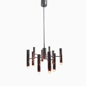 Vintage Hanging Lamp with 10 Chromed Tubes, 1970s