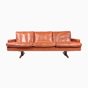 Three-Seater Brown Leather Sofa by Fredrik Kayser for Vatne Møbler, 1970s