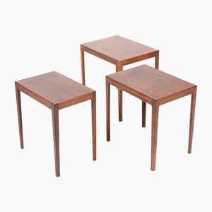 Tavolini a incastro Mid-Century rettangolari in palissandro, Danimarca, set di 3