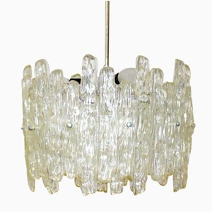 Ice Glass Hanging Lamp from Kalmar, 1960s