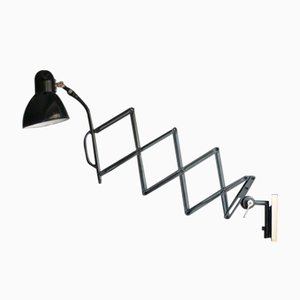 Bauhaus Scherenlampe mit Emaille Leuchte von Jacobus