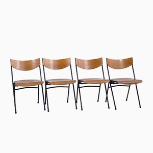 Beech Stacking Chairs, 1950s, Set of 4