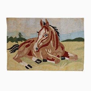 Tapis Vintage Crocheté Fait Main, Amérique, 1940s
