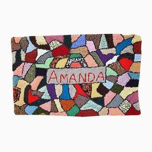 Alfombra estadounidense vintage tejida a mano, años 80