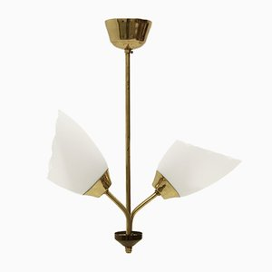 Mid-Century Twin-Shade Ceiling Lamp