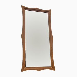 Mid-Century Wall Mirror with Sculptural Oak Frame, 1960s