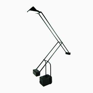 Lámpara de mesa española vintage negra con contrapeso de Fase, años 80