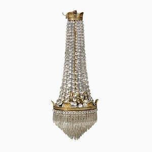 Lámpara de araña antigua de cristal tallado, 1900
