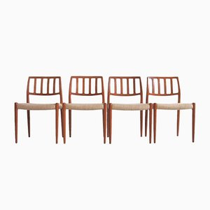 Vintage Dining Chairs by N. O. Møller, 1970s, Set of 4