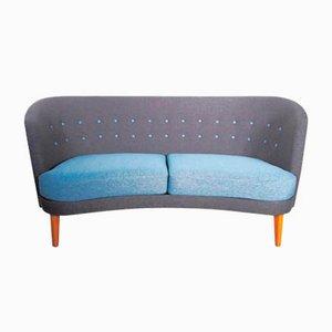 Mid-Century Sofa in Blau & Grau, 1950er