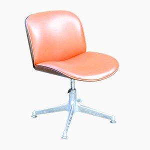 Silla giratoria de palisandro con asiento de cuero de Ico Parisi para MIM, años 50