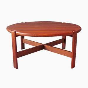 Round Danish Solid Teak Coffee Table by Niels Bach, 1970s