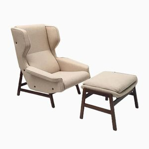 Model 877 Rosewood Lounge Chair & Ottoman by Gianfranco Frattini for Cassina, 1959