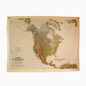 Italienische Doppelseitige Nordamerika Landkarte, 1976