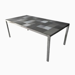 Model Luar Stainless Steel Op Art Dining Table by Ross Littell for ICF, 1972