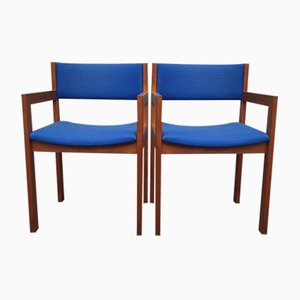 Mid-Century Cubist Teak Armchairs by Erik Kirkegaard for Høng, 1960s, Set of 2
