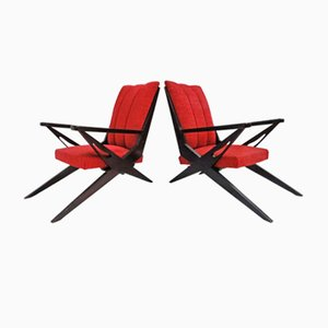 Red Italian Sculptural Lounge Chairs, 1950s, Set of 2