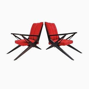 Rote Italienische Skupturale Armlehnstühle, 1950er, 2er Set