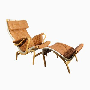 Mid-Century Pernilla 69 Easy Chair with Ottoman by Bruno Mathsson for Dux