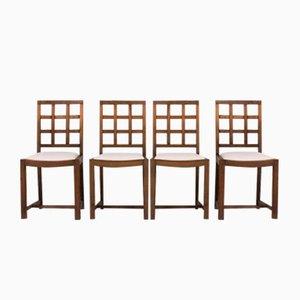 Mid-Century Stühle aus Eichenholz mit Beigen Sitzen aus Samt, 1950er, 4er Set