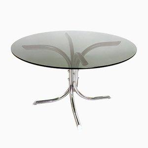 Mesa de comedor italiana de metal cromado y vidrio ahumado, años 70